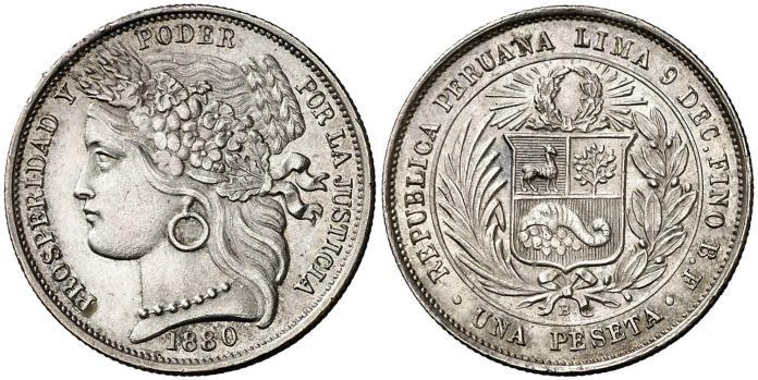 1 Peseta 1880 Perú