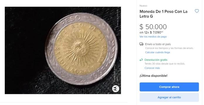 Anuncio Mercado Libre 1 peso 1995 error provingias
