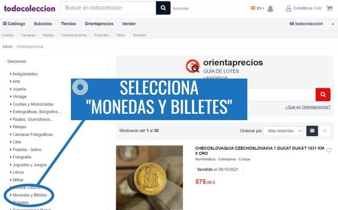Valor Monedas Antiguas TC Paso 2