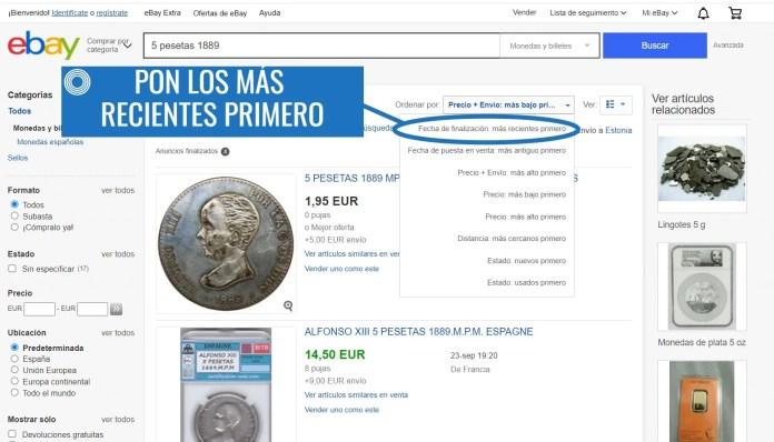 Valor Monedas Antiguas ebay paso 3