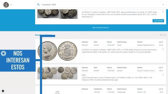 Valor de Monedas Antiguas en Sixbid Paso 5