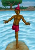 Saci Sacerê - Capaz de andar na água sem se molhar. Odoberto o fez ligado ao elemento aquático, diferente do fogo e do vento dos demais.