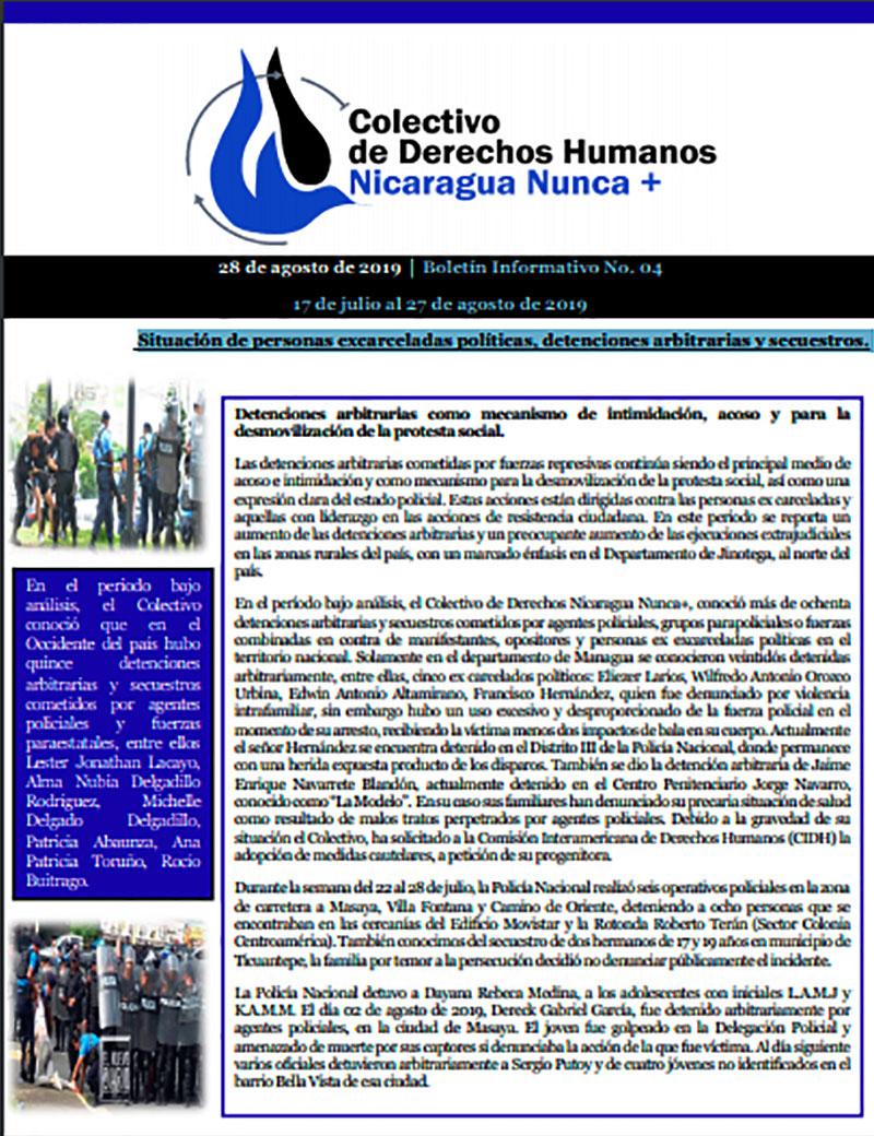 Boletín 04 Situación de personas excarceladas políticas, detenciones arbitrarias y secuestros