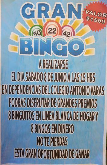 DIRECTIVA DEL CENTRO DE PADRES Y APODERADOS  INVITA A BINGO