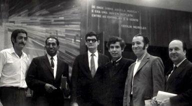 Festival Rio 1969: Conrado Silva, Roque Cordero, Marlos Nobre, alcides lanza, Armando Krieger, Claudio Santoro [foto: alcides lanza]