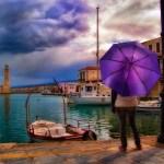 Purple Umbrella by Theophilos Papadopoulos