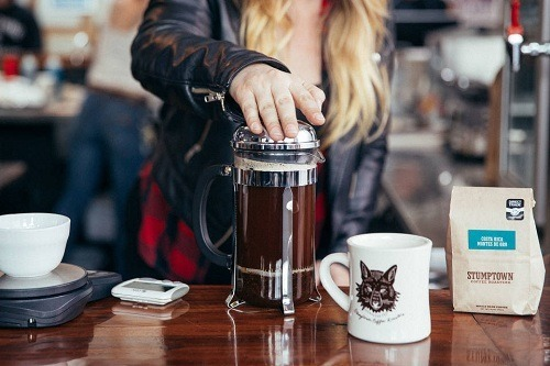 Making Coffee with French Press