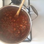 Dark Coffee and Cocoa Chili cooking on stove by Coletti Coffee