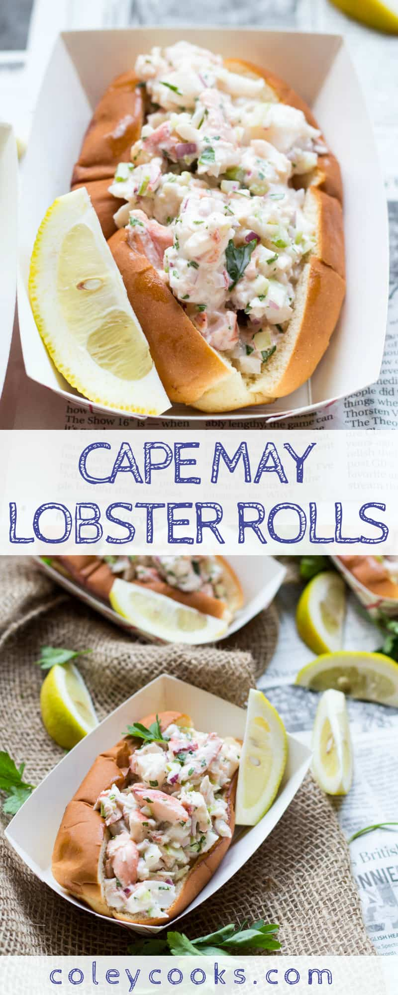 CAPE MAY LOBSTER ROLLS | This easy summer recipe for lobster rolls is my family's favorite way to prepare them! Lightly dressed big chunks of lobster stuffed inside a buttery top split bun. #recipe #lobster #capemaynj #summer | ColeyCooks.com
