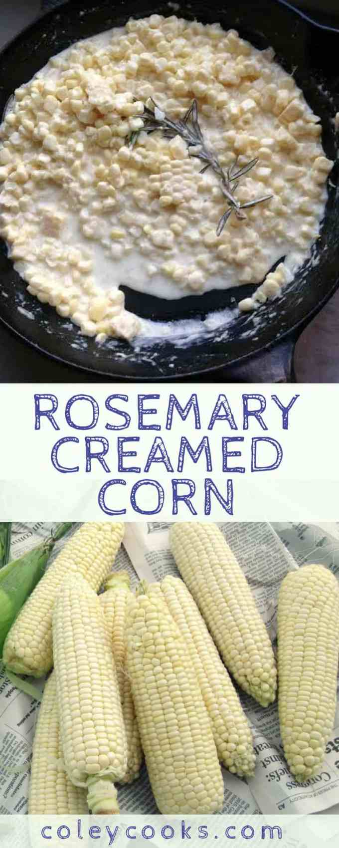 ROSEMARY CREAMED CORN   Easy creamed corn recipe! Fresh corn on the cob simmered in a simple rosemary cream sauce. A delicious summer side! #easy #summer #corn #side #recipe #southern   ColeyCooks.com