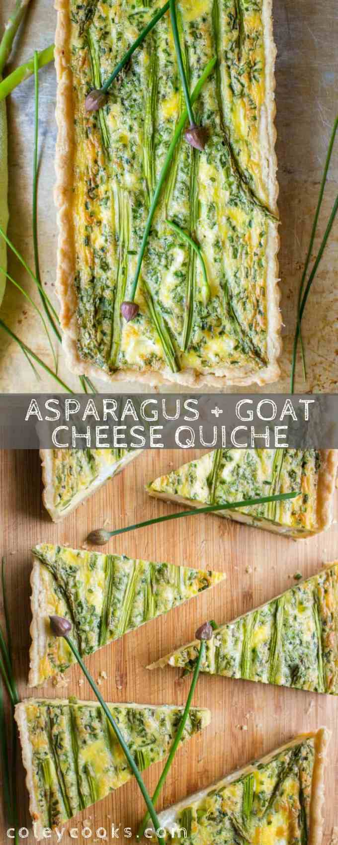 ASPARAGUS + GOAT CHEESE QUICHE | Easy quiche recipe perfect for spring! Easter brunch, mothers day, or just a Sunday at home! Flaky, buttery crust, creamy goat cheese, tender asparagus and perfectly set eggs. #eggs #easy #homemade #quiche #asparagus #goat #crust #cheese #chives #spring #easter #brunch | ColeyCooks.com