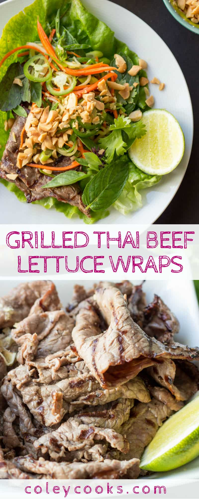 GRILLED THAI BEEF LETTUCE WRAPS | Easy, healthy grilled beef recipe! Flavorful marinated grilled beef with crunchy veggie slaw. #grilled #beef #paleo #recipe #summer #healthy #glutenfree | ColeyCooks.com