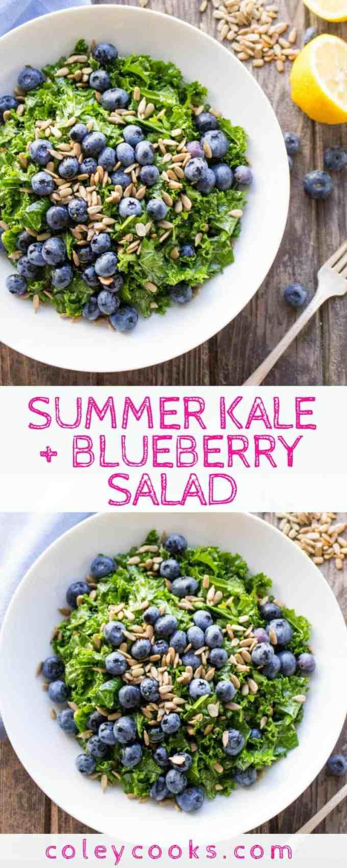 SUMMER KALE + BLUEBERRY SALAD | Easiest ever summer salad recipe with a simple honey lemon vinaigrette, crunchy sunflower seeds, sweet blueberries and massaged kale! #glutenfree #vegan #plantbased #paleo | ColeyCooks.com