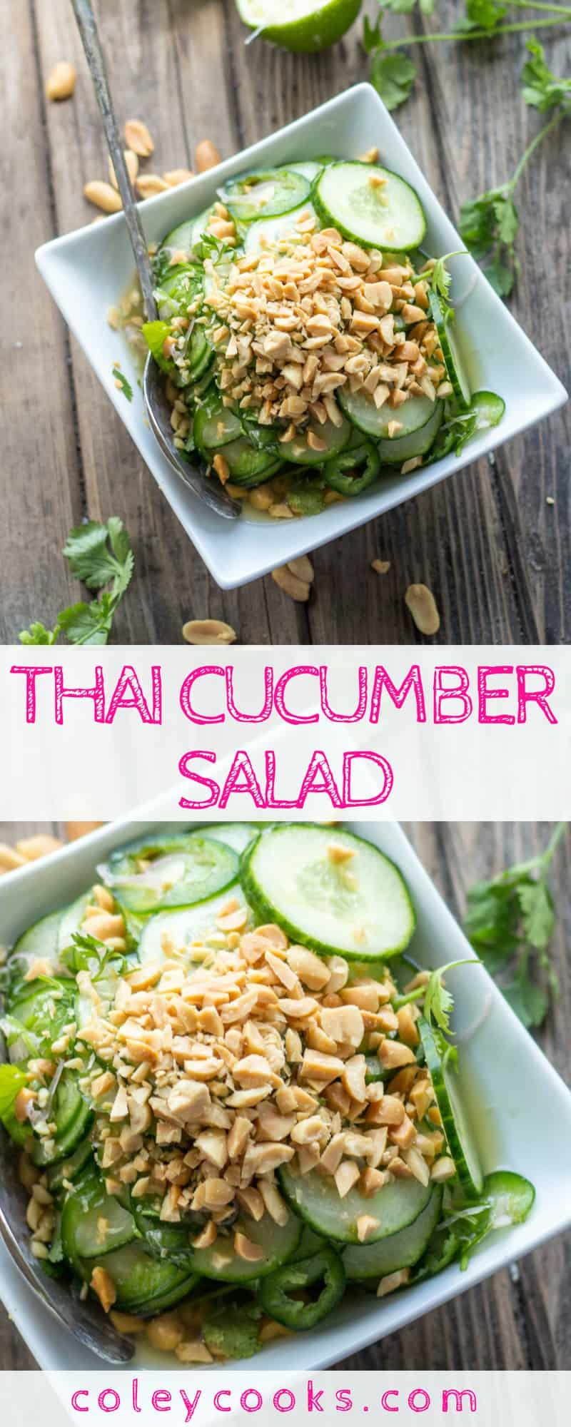 THAI CUCUMBER SALAD | This easy summer salad recipe is light, crisp, and loaded with Thai flavor! Spicy from jalapeños and great crunch from roasted peanuts. #plantbased #recipe #Thai #cucumber #salad #summer | ColeyCooks.com