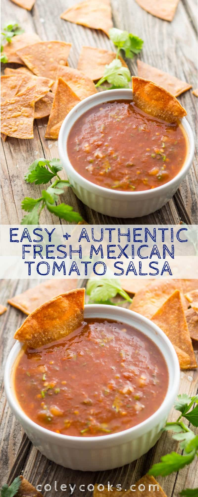 This easy recipe for Mexican Tomato Salsa is an authentic, spicy and flavorful dip for chips or a sauce for your favorite Mexican dish. Great for Cinco de Mayo! #cinco #Mexican #easy #authentic #tomato #spicy #salsa #recipe #chips #dip #snacks | ColeyCooks.com