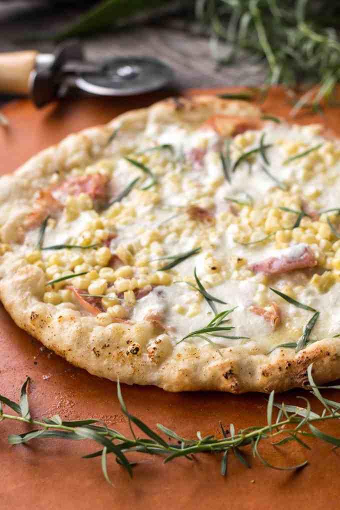 Grilled Pizza with Prosciutto + Corn