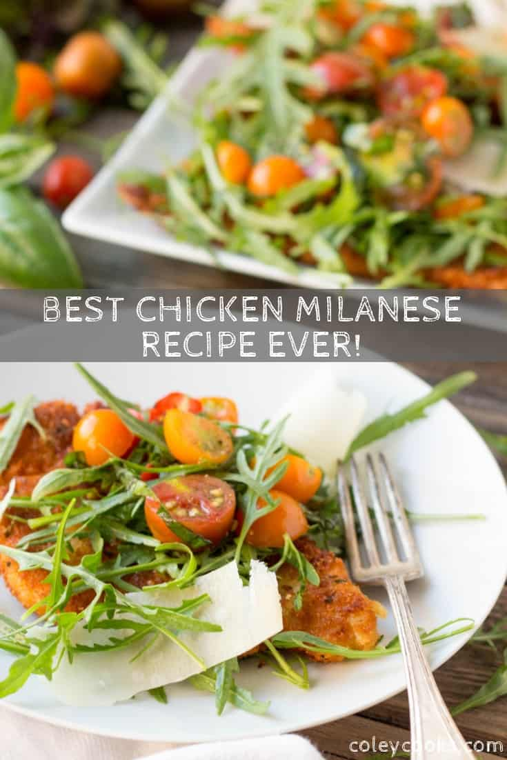 Look no further, this is the BEST reicpe for Chicken Milanese EVER! Super crispy Italian breaded chicken cutlets served with a lemony arugula tomato salad. SO good!! #best #breaded #chicken #cutlet #recipe #milanese #dinner #arugula #tomato #salad   ColeyCooks.com