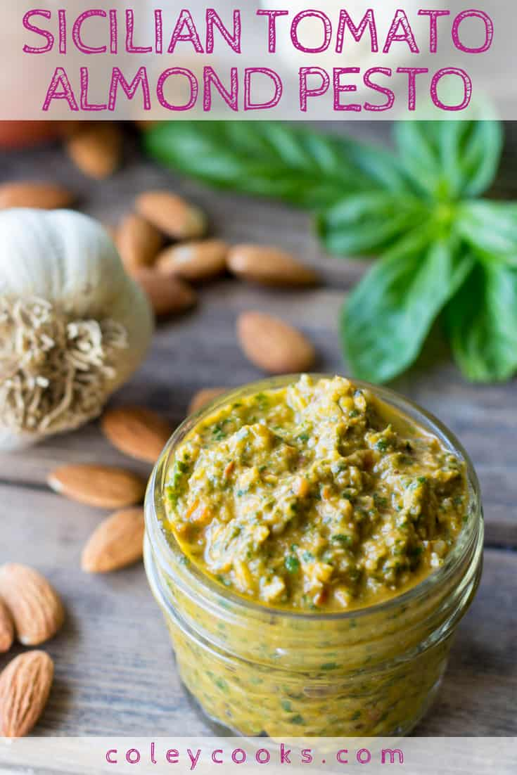 SICILIAN TOMATO ALMOND PESTO | This easy Sicilian pesto recipe is amazing tossed with pasta, smeared on bread, or paired with grilled meats, fish, and vegetables. #recipe #pesto #Sicilian #vegetarian #pasta | ColeyCooks.com