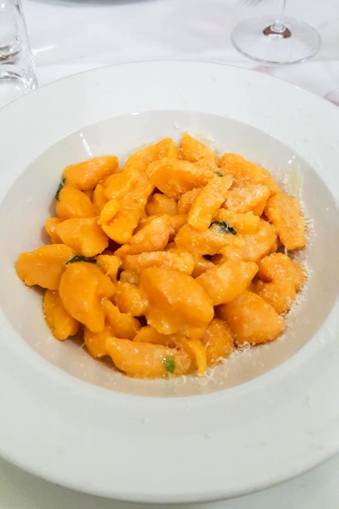 pumpkin gnocchi in Bologna, Italy