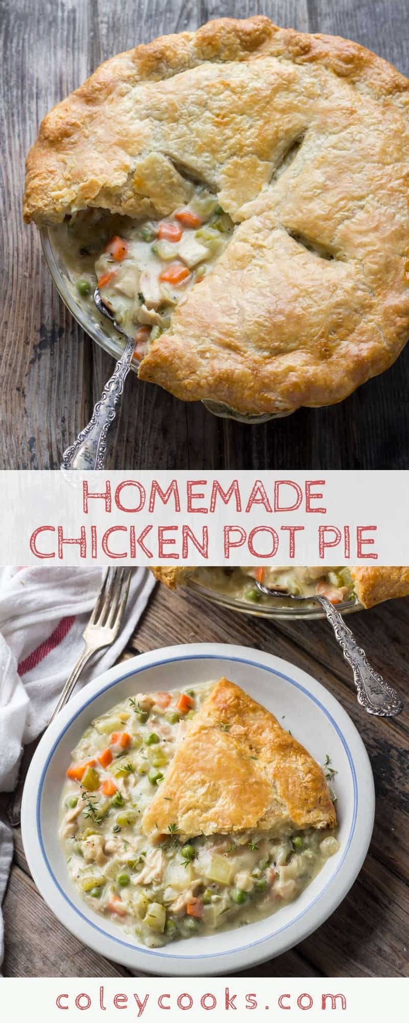 HOMEMADE CHICKEN POT PIE | The best recipe for chicken pot pie ever. Buttery crust, tender chicken lots of vegetabels and a flavorful gravy. #best #fall #recipe #chicken #potpie #pie #savory #dinner #classic | ColeyCooks.com