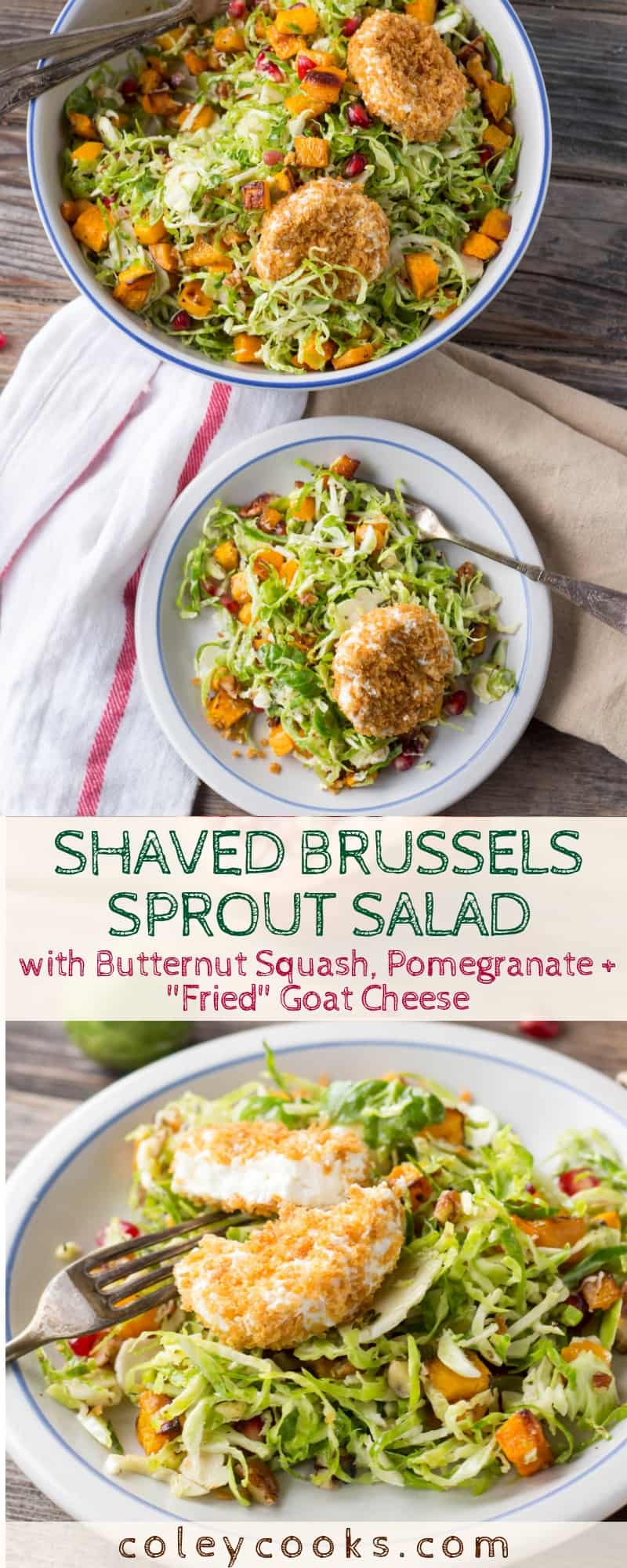 "Shaved Brussels Sprout Salad with Butternut Squash, Pomegranate + ""Fried"" Goat Cheese 