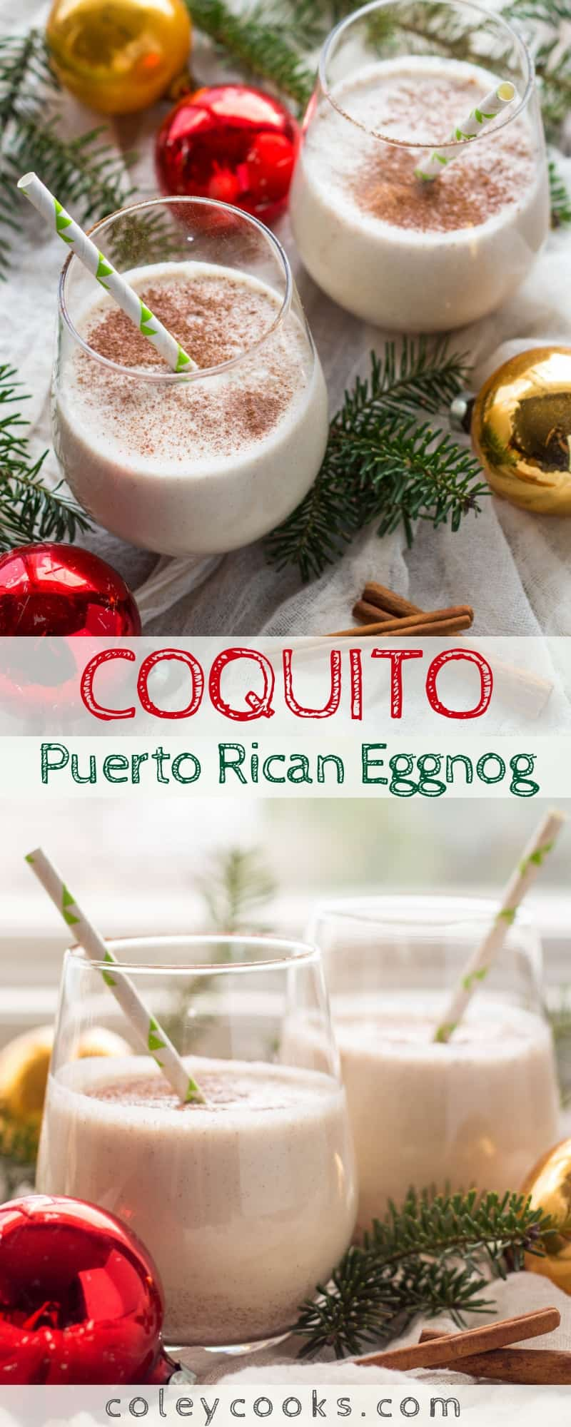 "COQUITO | Known as ""Puerto Rican Eggnog"" this strong, sweet and spiced coconut rum drink is my absolute favorite at Christmas! 