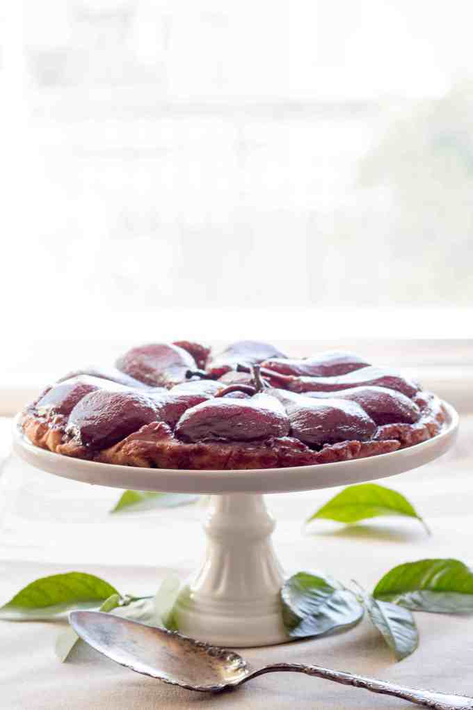 Red Wine Poached Pear Tarte Tatin