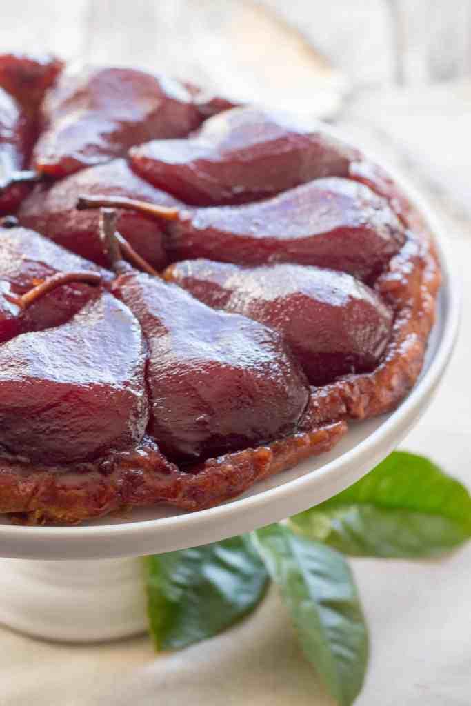 Red Wine Poached Pear Tarte Tatin