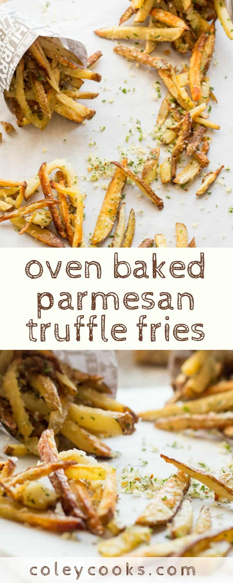 OVEN BAKED PARMESAN TRUFFLE FRIES   Tricks to getting the crispiest oven baked fries that get an extra boost of flavor from parmesan cheese and truffle oil. The best!   ColeyCooks.com
