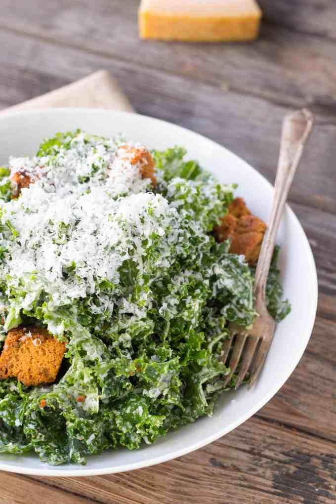 Kale Caesar Salad with Cornbread Croutons