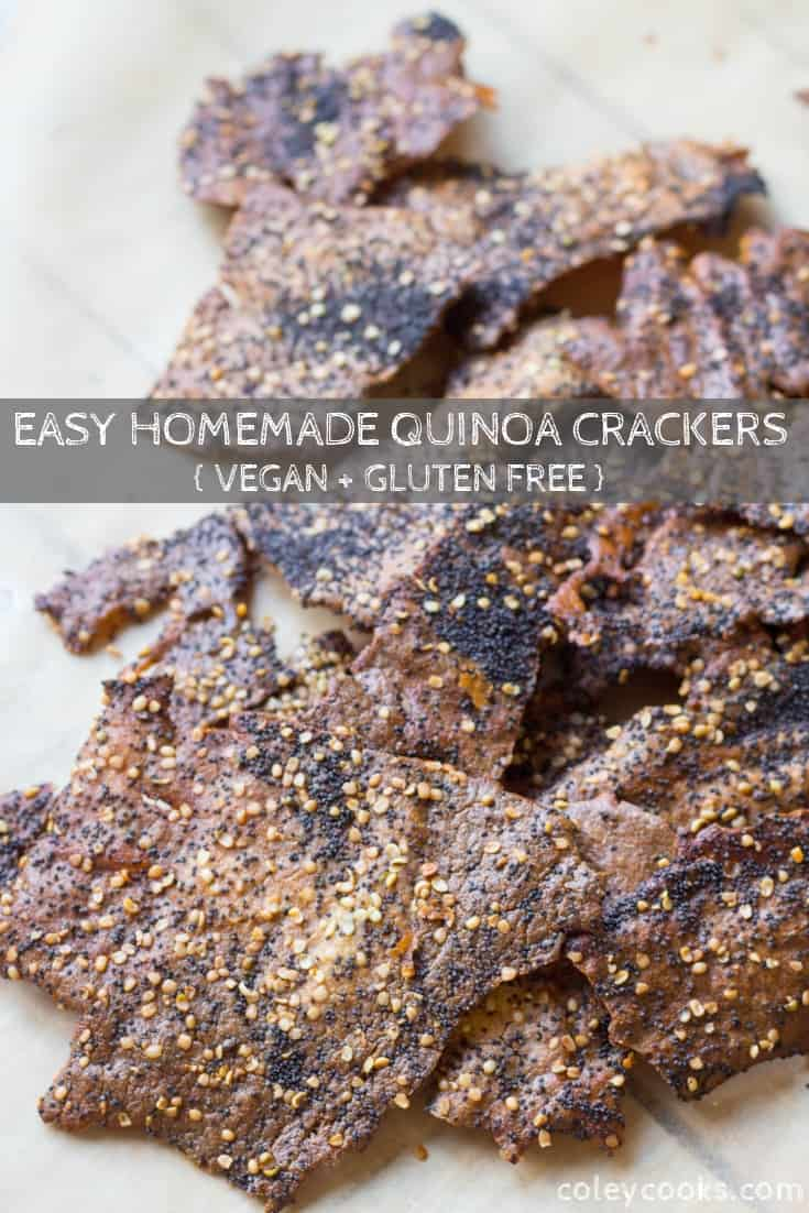 This super easy recipe for quinoa crackers is gluten free, high in protein and fiber! They're crispy, crunchy, crazy healthy and super satisfying. #easy #glutenfree #quinoa #cracker #everything #bagel #seasoning #recipe #vegan #dairyfree | ColeyCooks.com
