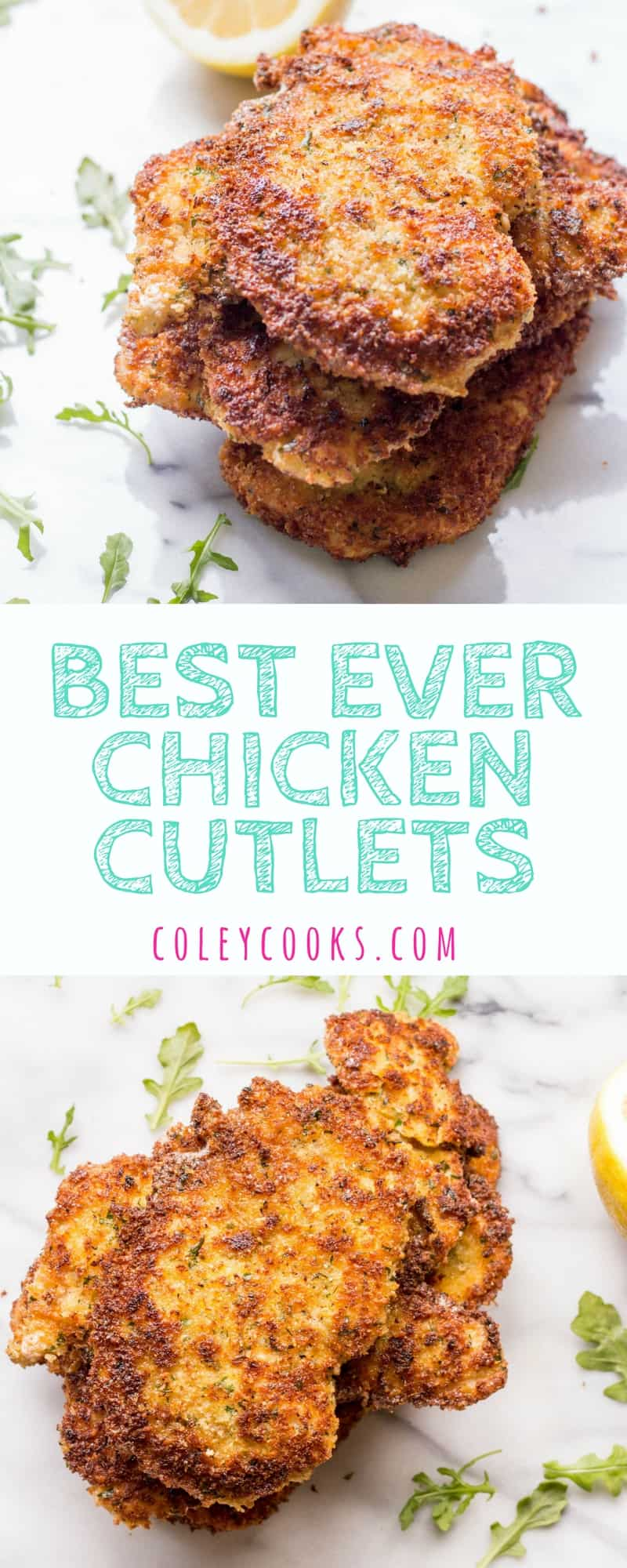 BEST EVER CHICKEN CUTLETS! | Secrets to the crispiest, thinnest, most tender, perfectly cooked chicken cutlets EVER! Perfect for Chicken Milanese, Chicken Parm, or for kids! | ColeyCooks.com