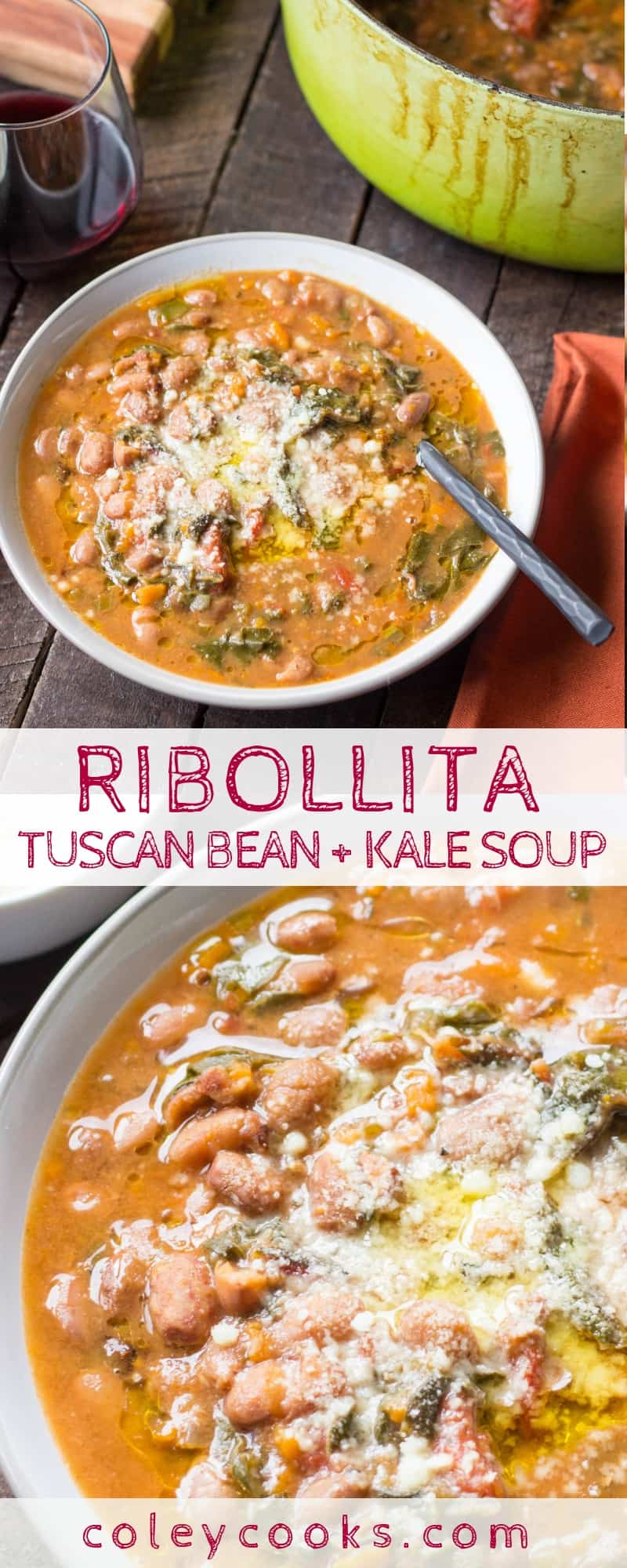 RIBOLLITA: TUSCAN BEAN + KALE SOUP | This classic Tuscan bean and kale soup makes a delicious and healthy winter dinner! #soup #italian #tuscan #ribollita #recipe #winter #fall #beans #kale #beansoup | ColeyCooks.com