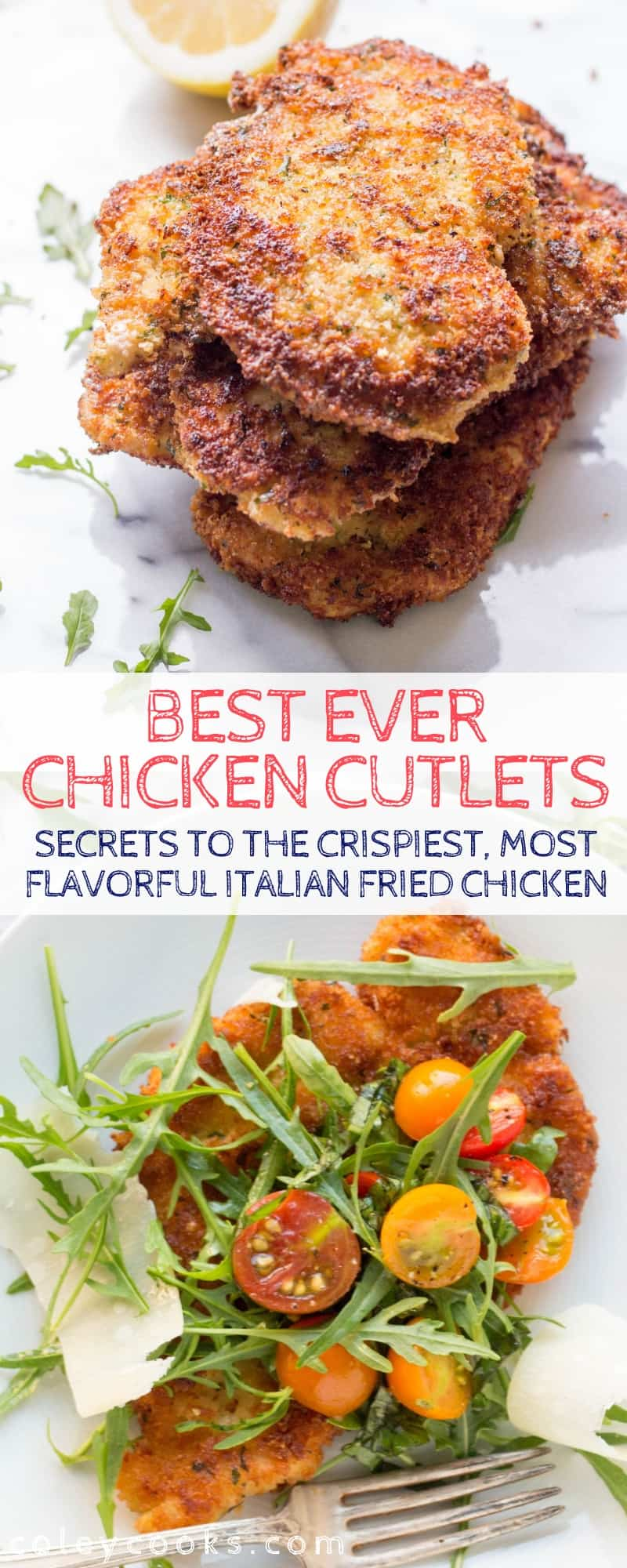 Secrets to the crispiest, thinnest, most tender, perfectly cooked Italian fried chicken cutlets EVER! Perfect for Chicken Milanese and Chicken Parmesan #chicken #fried #italian #cutlets #recipe #best   ColeyCooks.com
