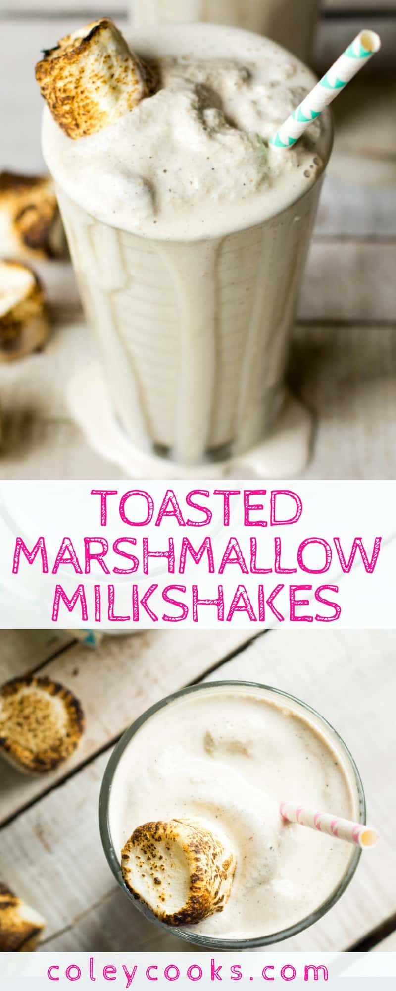 TOASTED MARSHMALLOW MILKSHAKES | Easy recipe for creamy toasted marshmallow milkshakes. So fun to make and only need 3 ingredients! #frozentreats | ColeyCooks.com