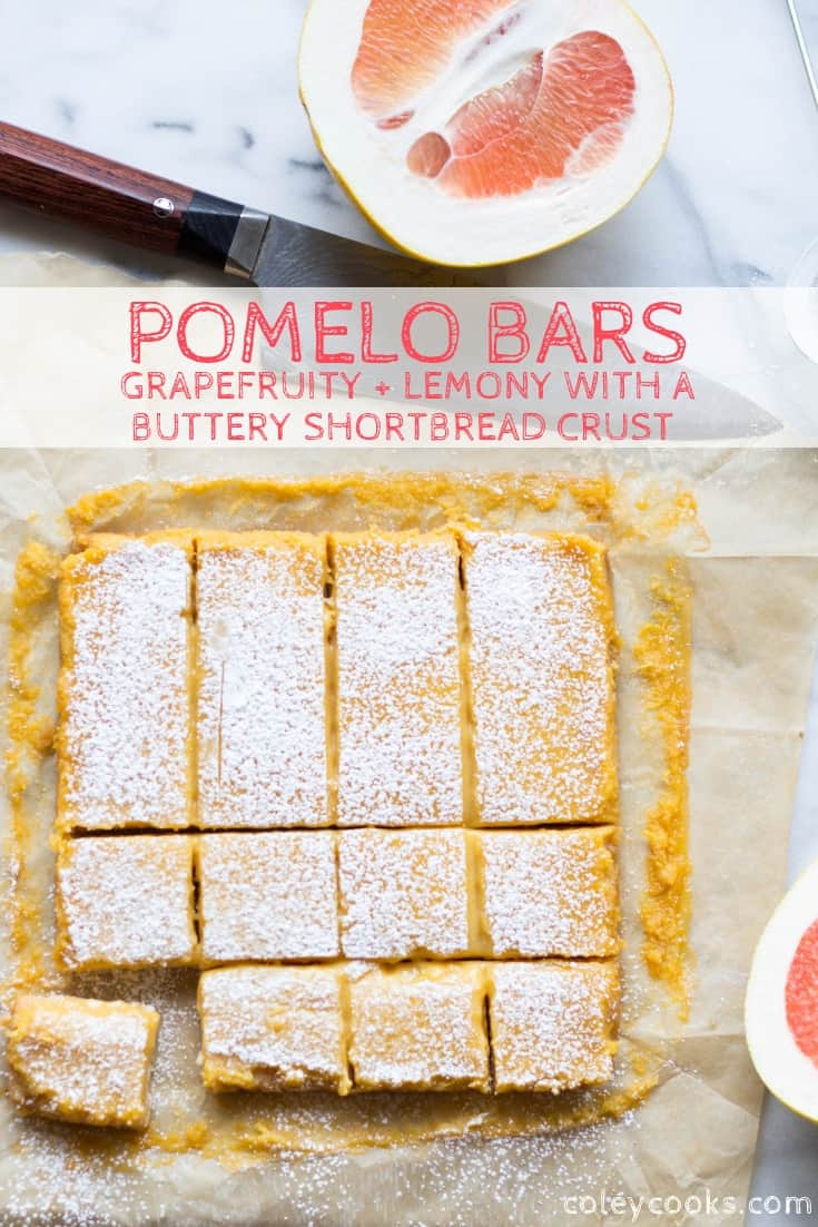 These bright, citrusy Pomelo Bars are like lemon bars only made with pomelo, which is similar to grapefruit. These Pomelo Bars have the best shortbread crust and a tangy, bitter-sweet citrus curd on top. #lemon #bars #citrus #pomelo #grapefruit #easy #dessert #recipe #shortbread   ColeyCooks.com