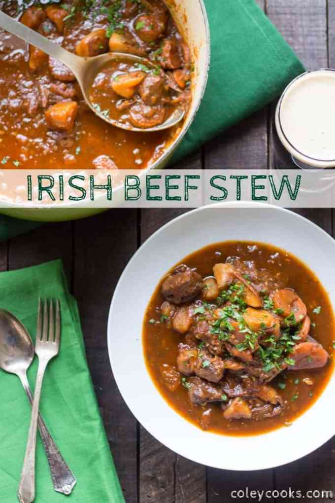 This simple + traditional Irish Beef Stew is made with beef, potatoes, and Guinness Stout. It's hearty comfort food that's perfect for St. Patrick's Day! #irish #beef #stew #st #patricks #easy #recipe #stout #guinness #dinner | ColeyCooks.com