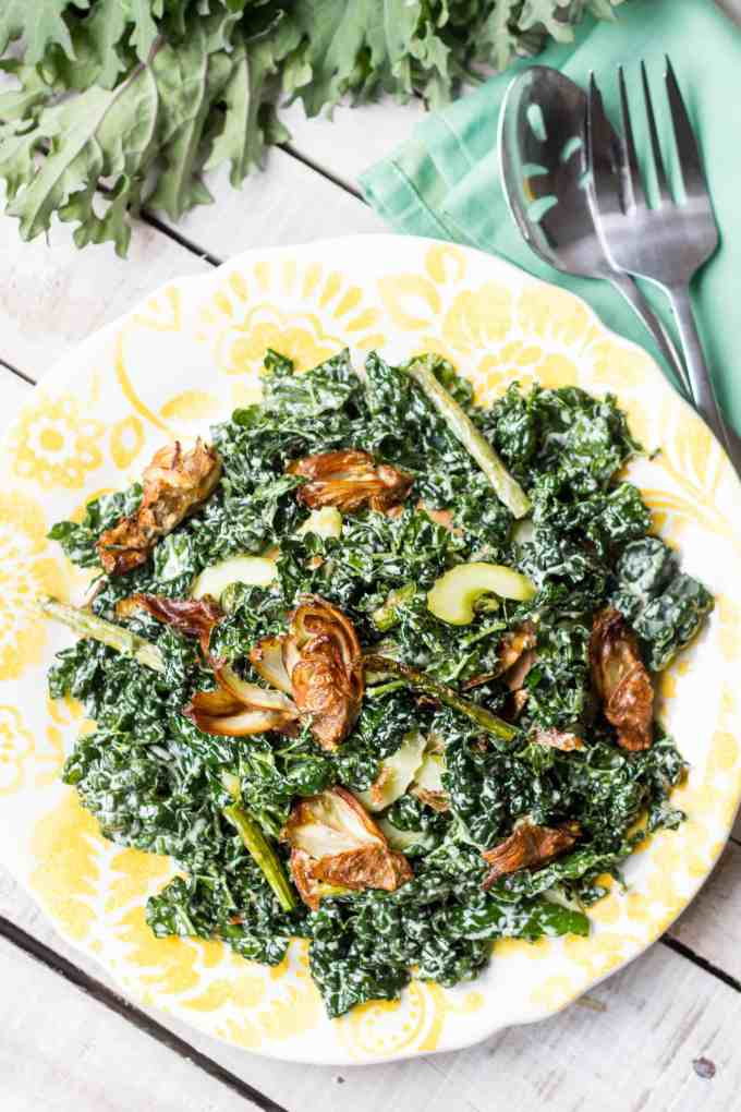 Fried Artichoke, Kale + Asparagus Salad with Pickled Celery + Creamy Parmesan Dressing