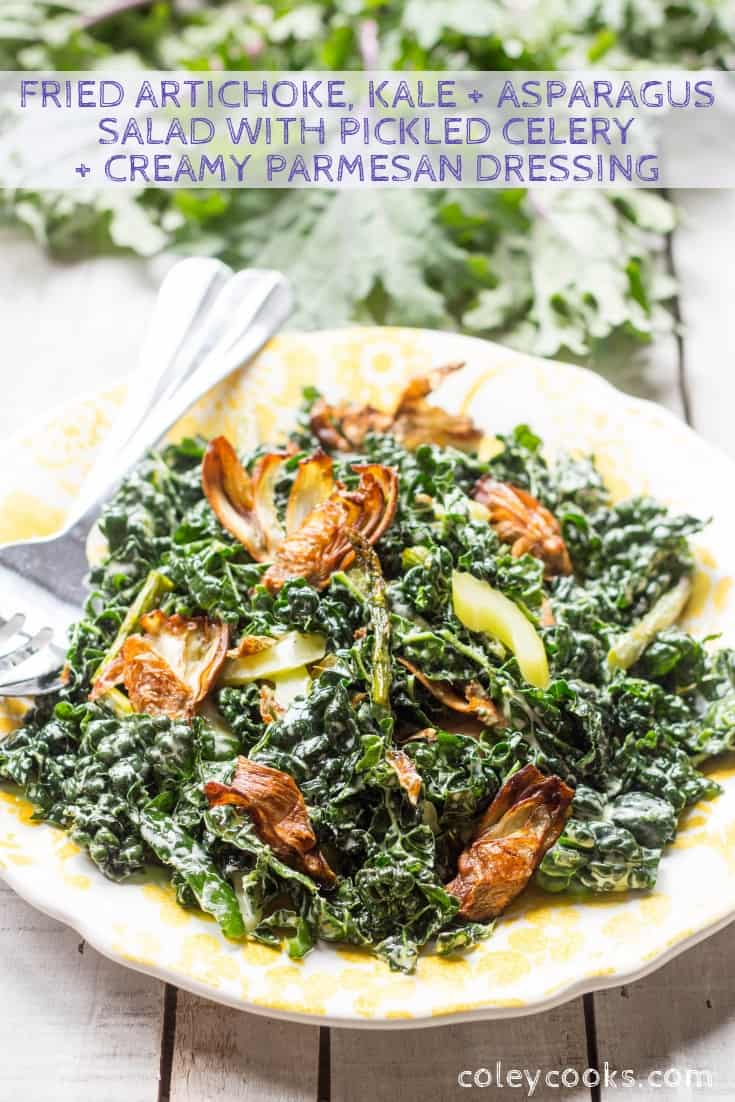 This incredibly unique salad pairs crispy fried artichokes, tender massaged kale, roasted asparagus, and quick pickled celery with a creamy parmesan dressing. GREAT for spring! #easy #spring #salad #recipe #vegetable #artichokes #kale #asparagus | ColeyCooks.com