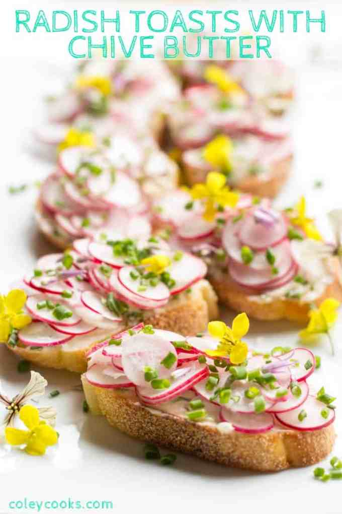 RADISH TOASTS with CHIVE BUTTER | Radishes and butter are a classic French combination. Fresh chives makes it taste even better. Easy spring appetizer recipe! #easy #spring #appetizer #recipe #radishes #butter #french #crostini #toast #chives | ColeyCooks.com