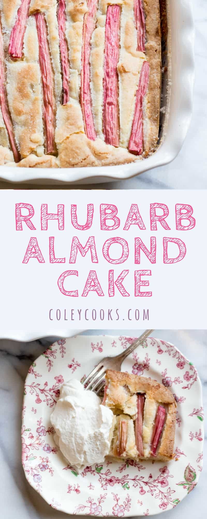 RHUBARB ALMOND CAKE with BOURBON WHIPPED CREAM|Tangy, dense, and delicious cake flecked with long strips of vibrant rhubarb and finished with boozy bourbon whipped cream. So great for Spring! | ColeyCooks.com
