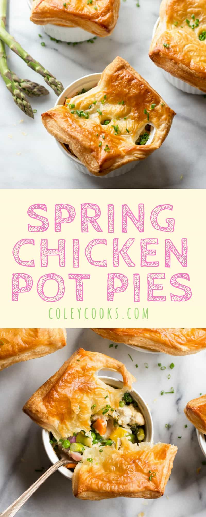 Spring Chicken Pot Pies | All of the Spring Veggies, Tender Chicken, and Crisp Puff Pastry. Easy spring recipe! | ColeyCooks.com