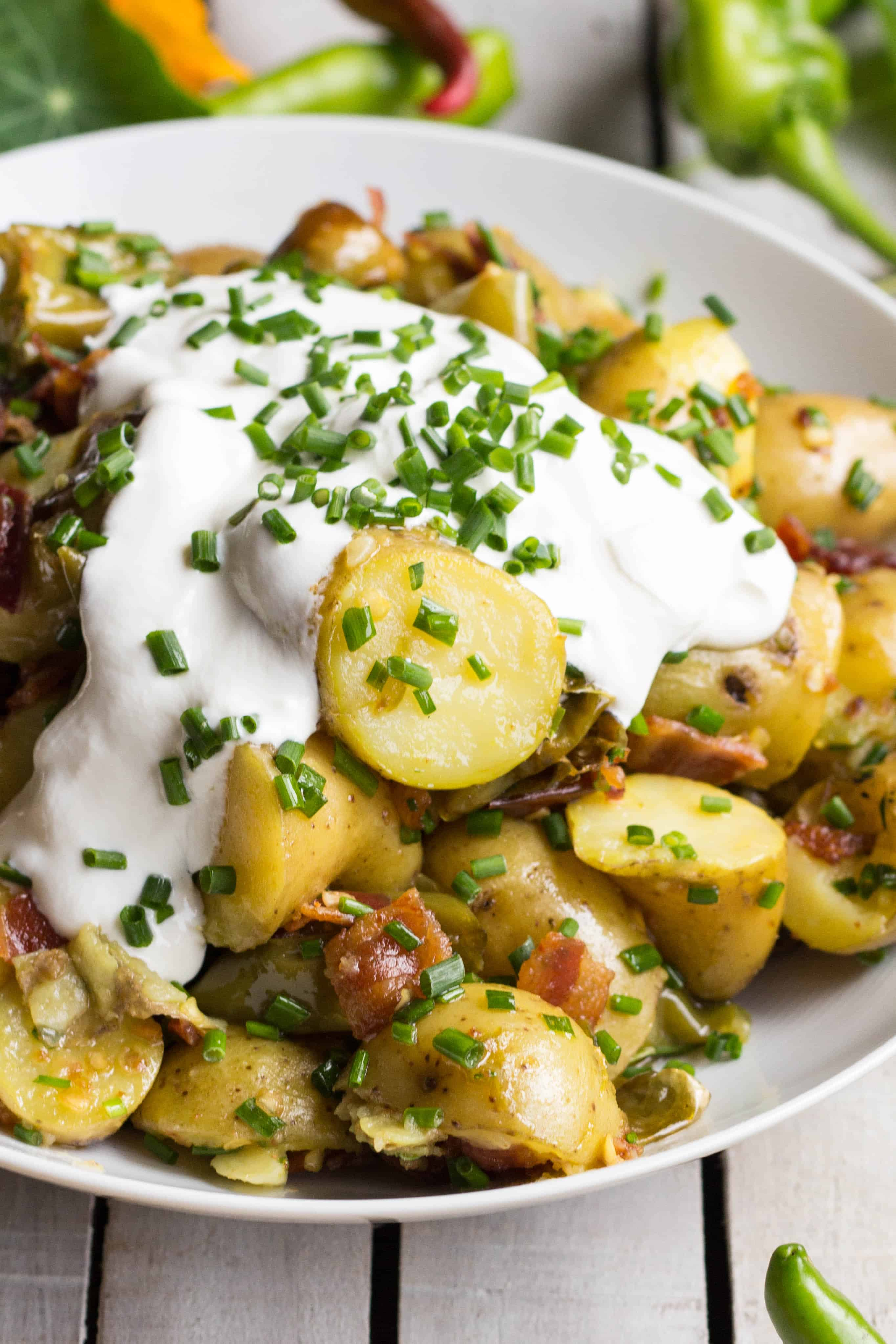 Warm Potato Salad with Bacon + Long Hots