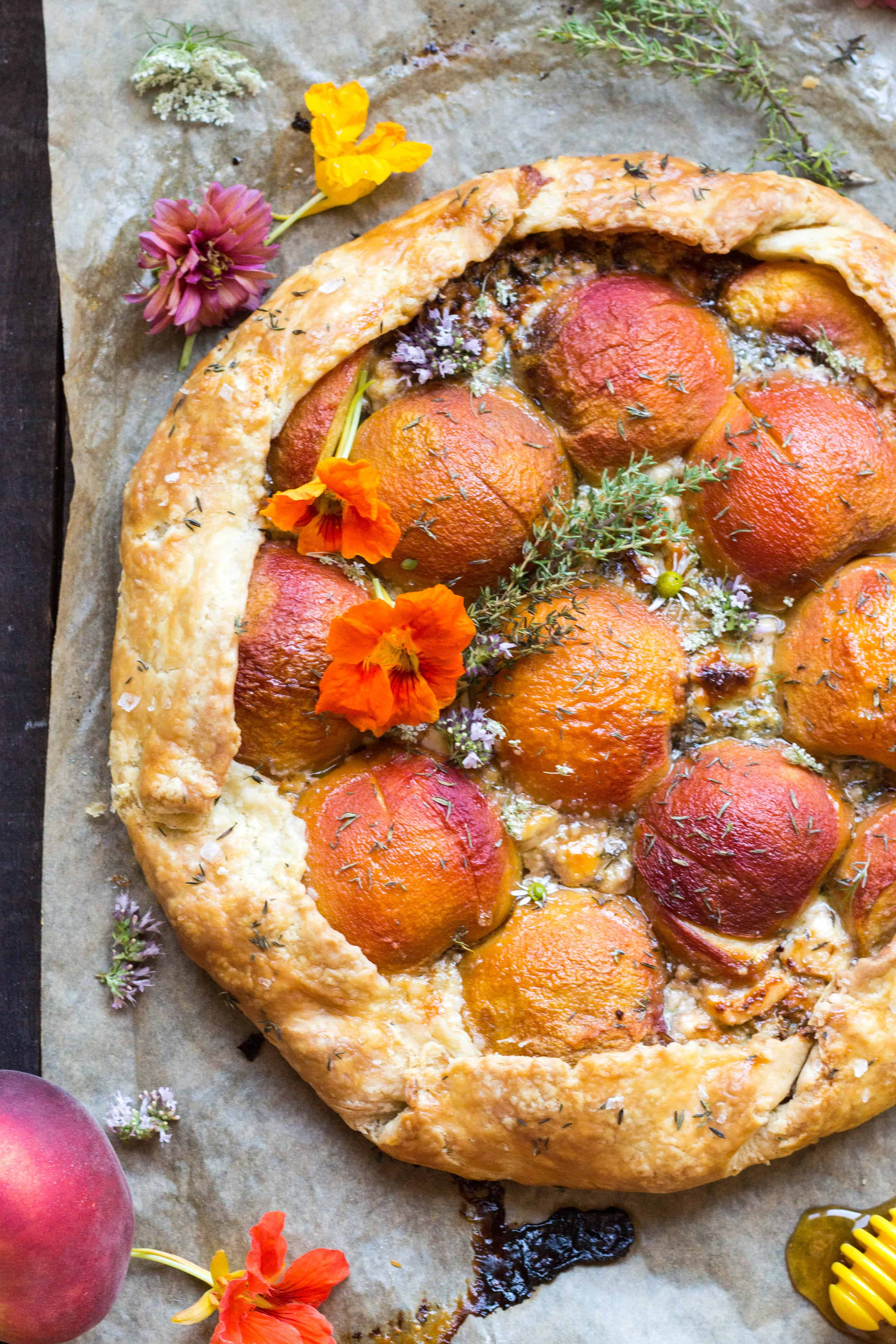 Savory Peach Galette with Blue Cheese + Caramelized Shallots