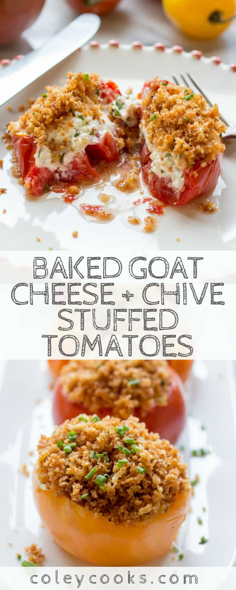 BAKED GOAT CHEESE + CHIVE STUFFED TOMATOES | Easy summer recipe. Makes a great light lunch or side dish to a light grilled dinner. The best way to enjoy heirloom tomatoes! #vegetarian #side #tomatoes | ColeyCooks.com