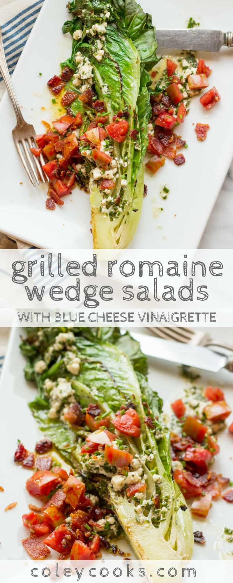GRILLED ROMAINE WEDGE SALADS | This take on the classic steakhouse wedge salad uses romaine instead of iceberg, is grilled for more flavor, loaded with crispy bacon and juicy tomatoes, plus it's lighter thanks to a blue cheese vinaigrette! | ColeyCooks.com