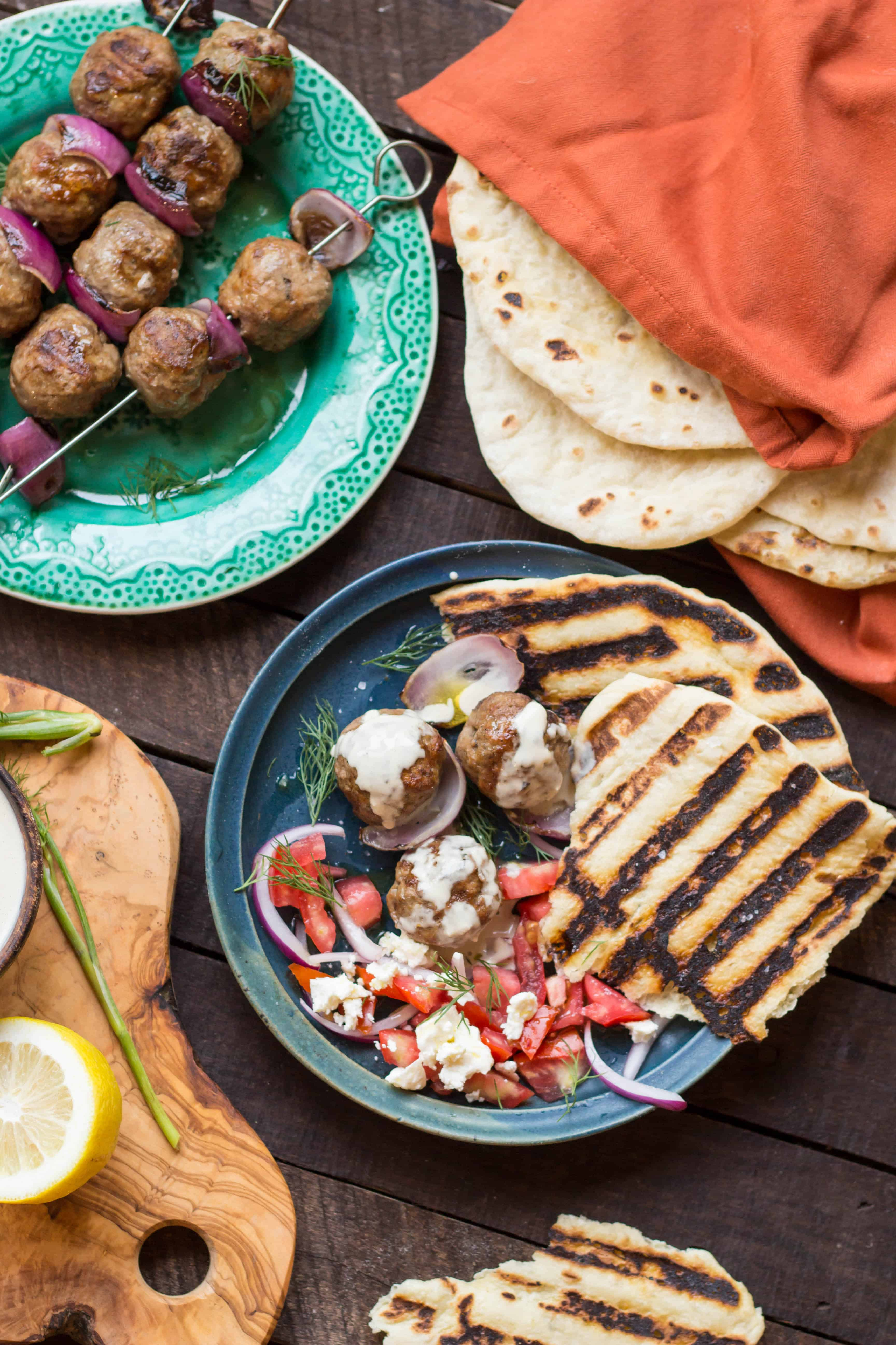 Grilled Lamb Meatballs with Tahini Sauce