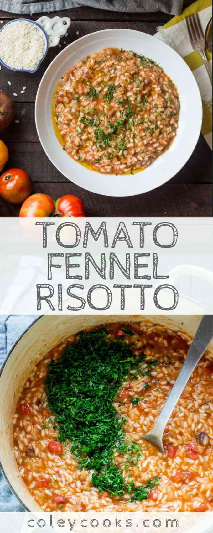 TOMATO FENNEL RISOTTO | Easy summer risotto recipe! Full of flavor, heirloom tomatoes, and fresh herbs. Healthy dinner recipe! #vegan #glutenfree #plantbased | ColeyCooks.com