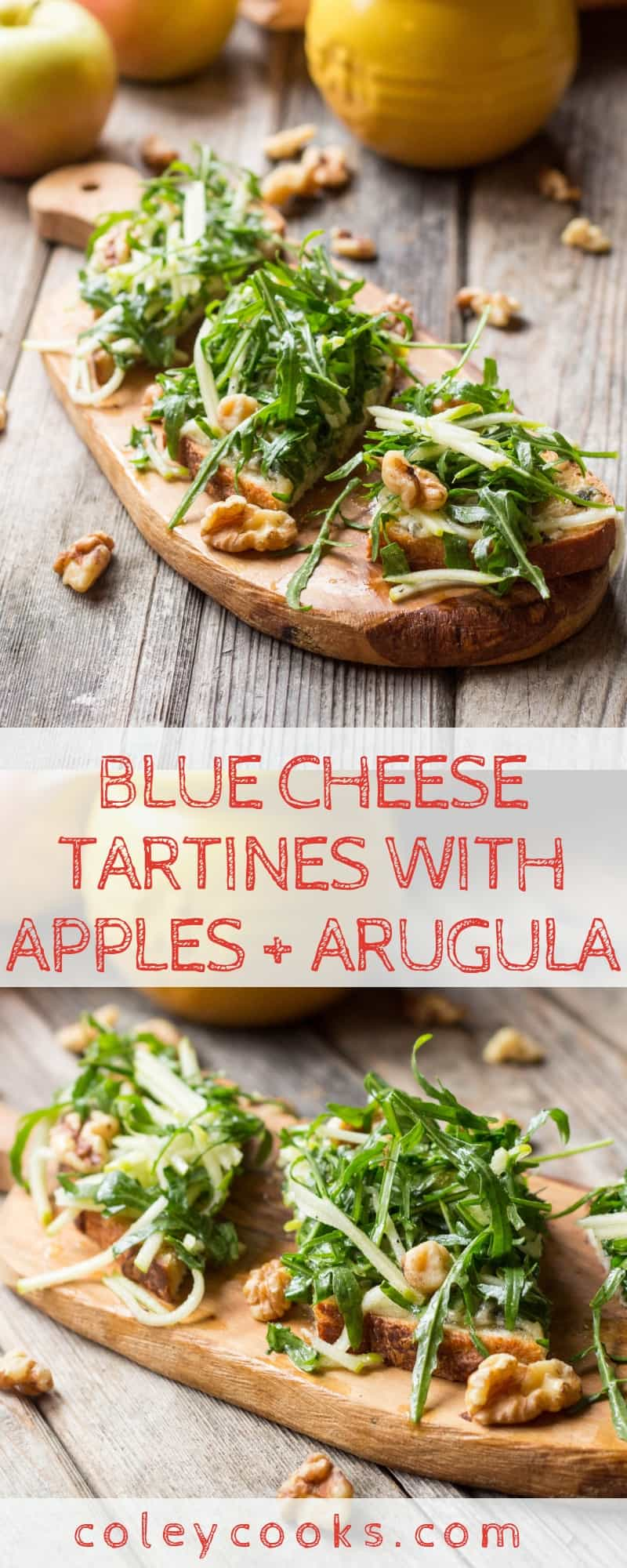BLUE CHEESE TARTINES with APPLES + ARUGULA | Simple and delicious open face sandwich recipe! Tangy blue cheese, crisp apples, peppery arugula, crunchy walnuts. #easy #tartine #bluecheese #apple #cheese #recipe #brunch #lunch #sandwich #arugula | ColeyCooks.com