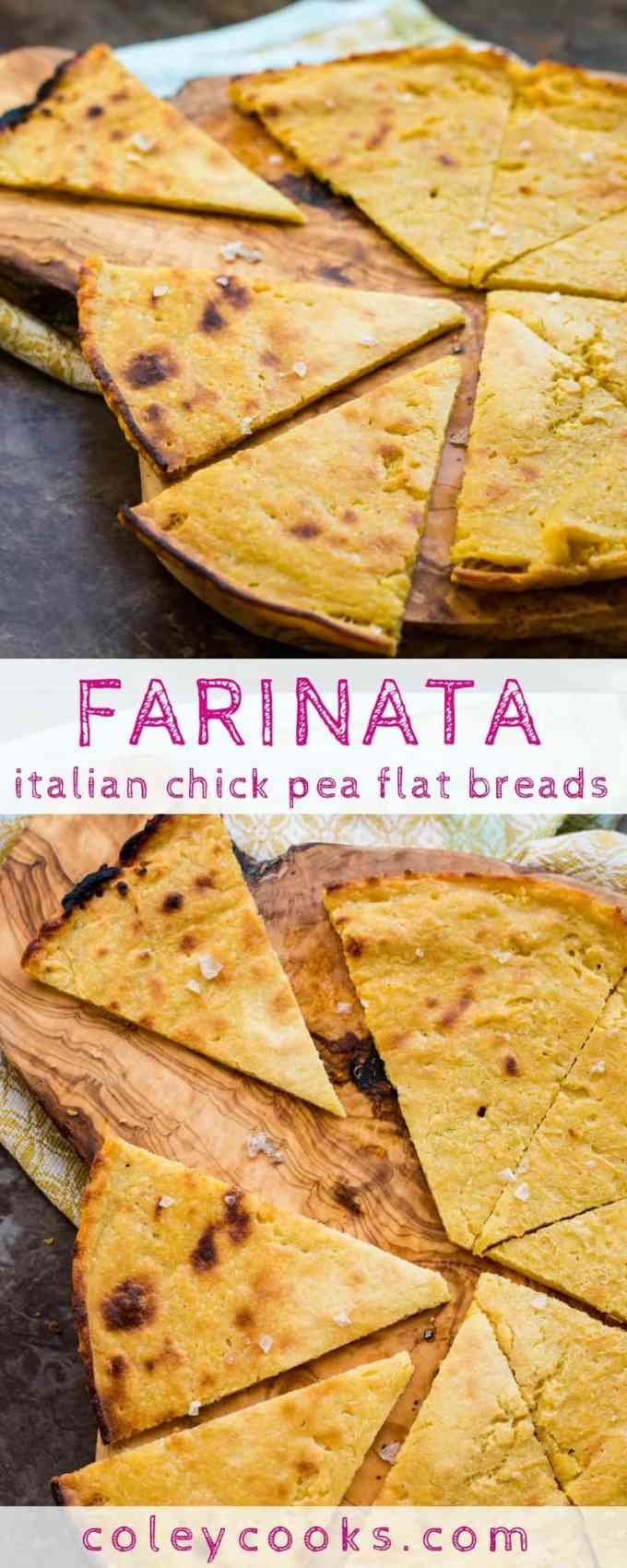FARINATA / SOCCA | This easy recipe for Italian / French chick pea flatbread is vegan, gluten free, and super delicious! Crispy outside with creamy interior. Makes a great pizza base! #glutenfree #vegan | ColeyCooks.com